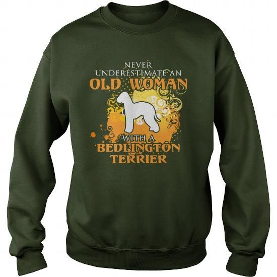 I Love Never underestimate an old man with a Bedlington Terrier T shirt