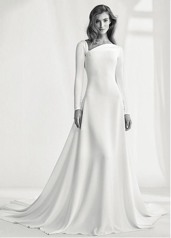 [158.39] Charming Four Way Spandex Asymmetrical Neckline Natural Waistline A-line Wedding Dress With Beadings
