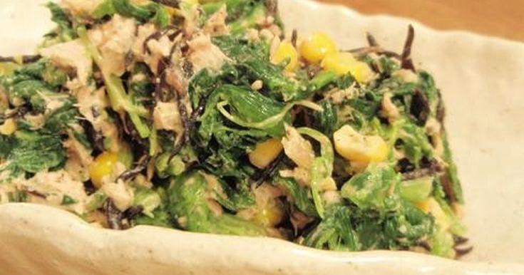すり胡麻を加えた和風なマヨネーズ和えのサラダです。これで鉄分ばっちり!*08年3/21レシピ変更済。