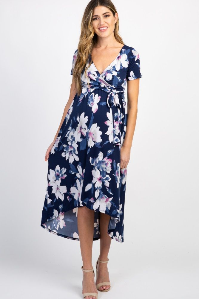 3ddb63157e0c8 Navy Floral Hi-Low Maternity Wrap Dress in 2019 | Maternity | Fitted ...