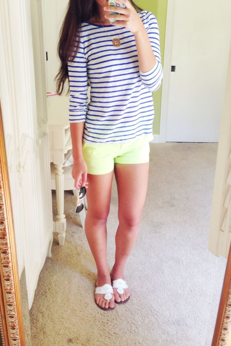 OOTD! Anthropologie striped tshirt, J.Crew chino shorts, Monogram necklace, Jack Rogers.