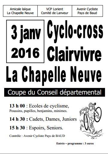 Engagés cyclo-cross de La Chapelle Neuve 3 janvier 2016 – Breizh Cyclisme Vidéos