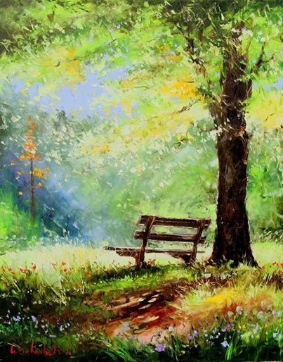 97 best goloubetsky art images on pinterest oil for Park bench painting