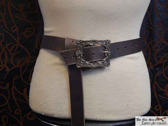 Quality heavy leather long belt wih large square renaissance buckle. SCA, LARP