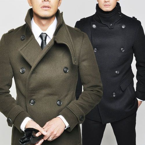 Shop this look for $217:  http://lookastic.com/men/looks/olive-pea-coat-and-black-tie-and-black-gloves-and-white-dress-shirt/702  — Olive Pea Coat  — Black Leather Tie  — Black Leather Gloves  — White Dress Shirt