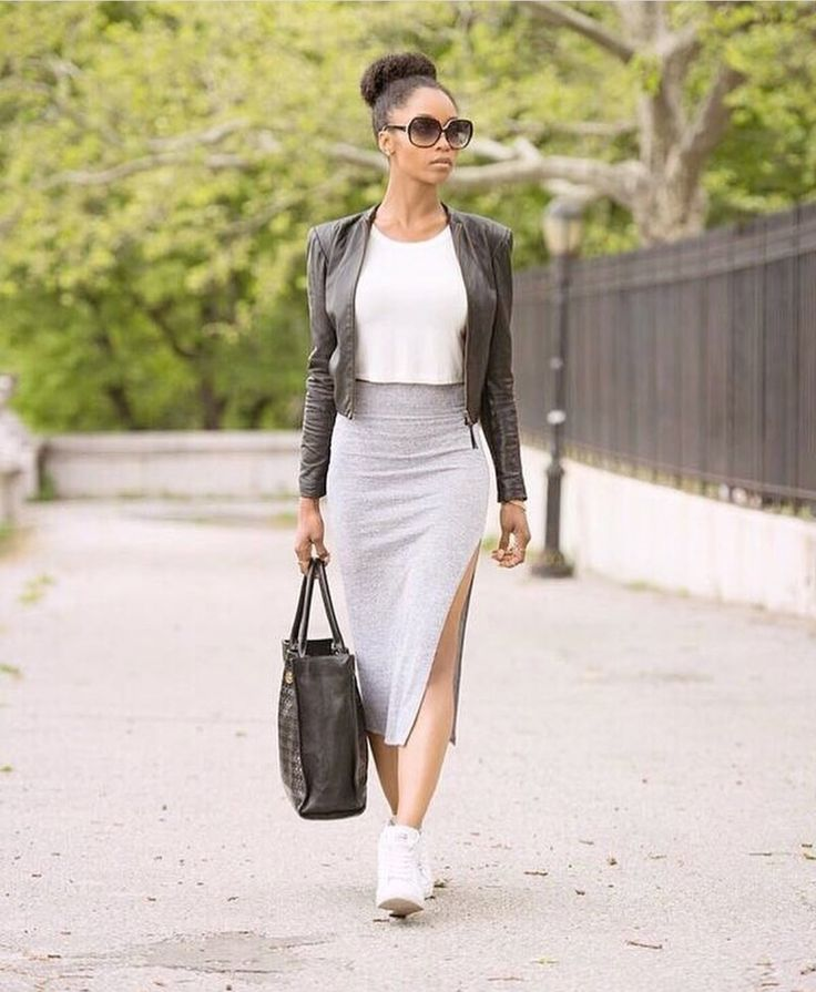 Skirt sneakers leather jacket top bun yaya dacosta
