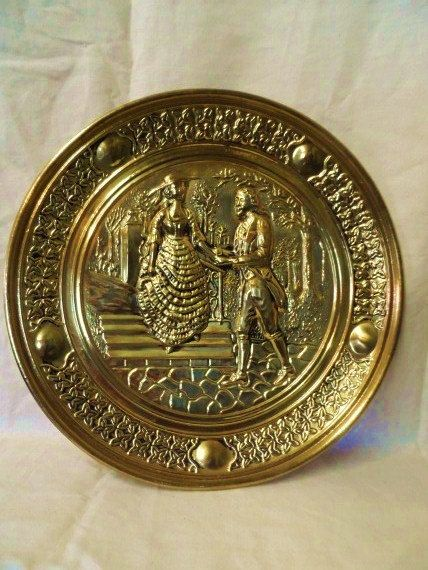 Antique Brass Wall Plates Simple Vintage Large Round Brass Wall Plate Featuring Couple Courting On Inspiration