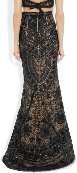 Emilio Pucci Sequined Tulle Maxi Skirt in Black | Lyst