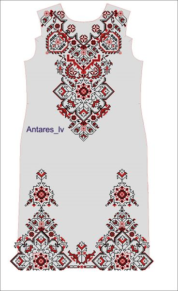 Платье. Схема машинной вышивки - купить в Львове | Етно-Вишивка