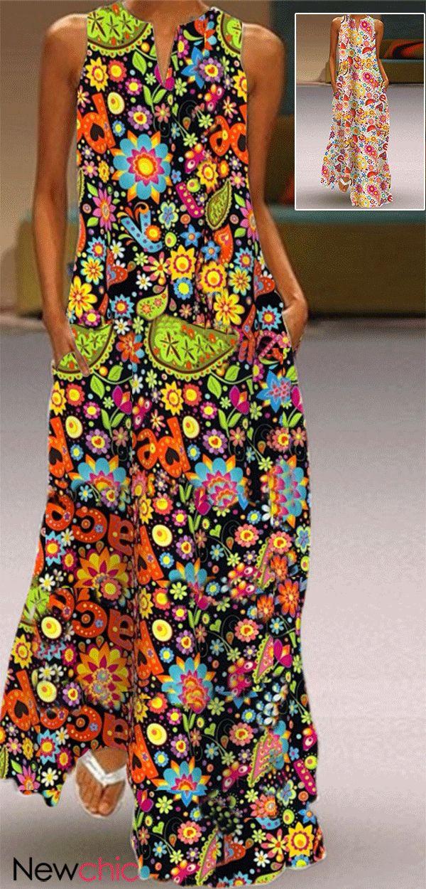 Bohemian Print Sleeveless Maxi Summer Dress. 2