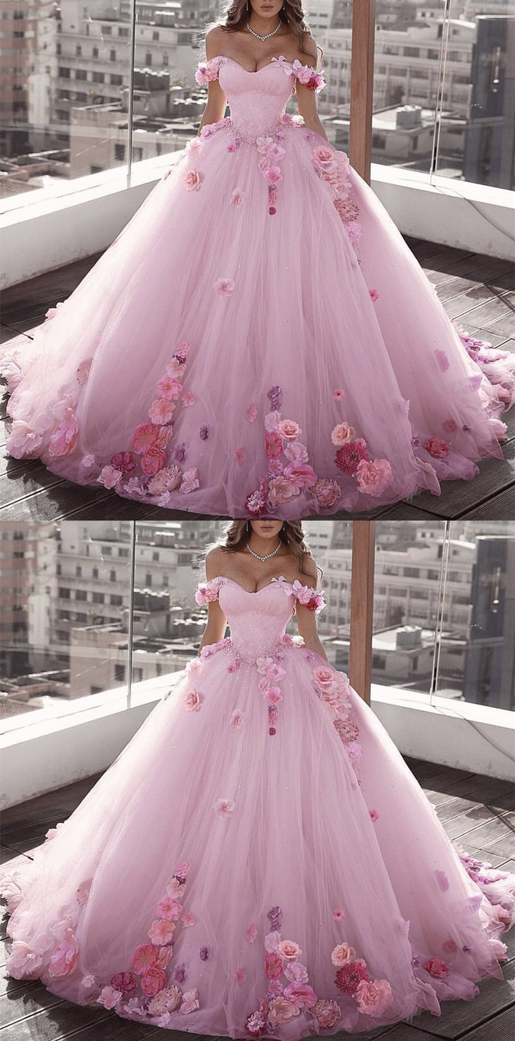 Off Shoulder Tulle Ball Gown Wedding Dresses Floral Flowers Beaded