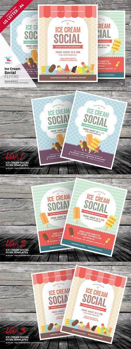 Ice Cream Social Flyer Templates - Creativemarket 712198