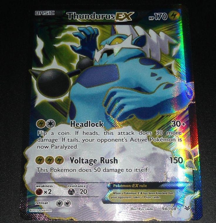 Thundurus EX 98/108 XY Roaring Skies Set FULL ART Pokemon Card NEAR MINT
