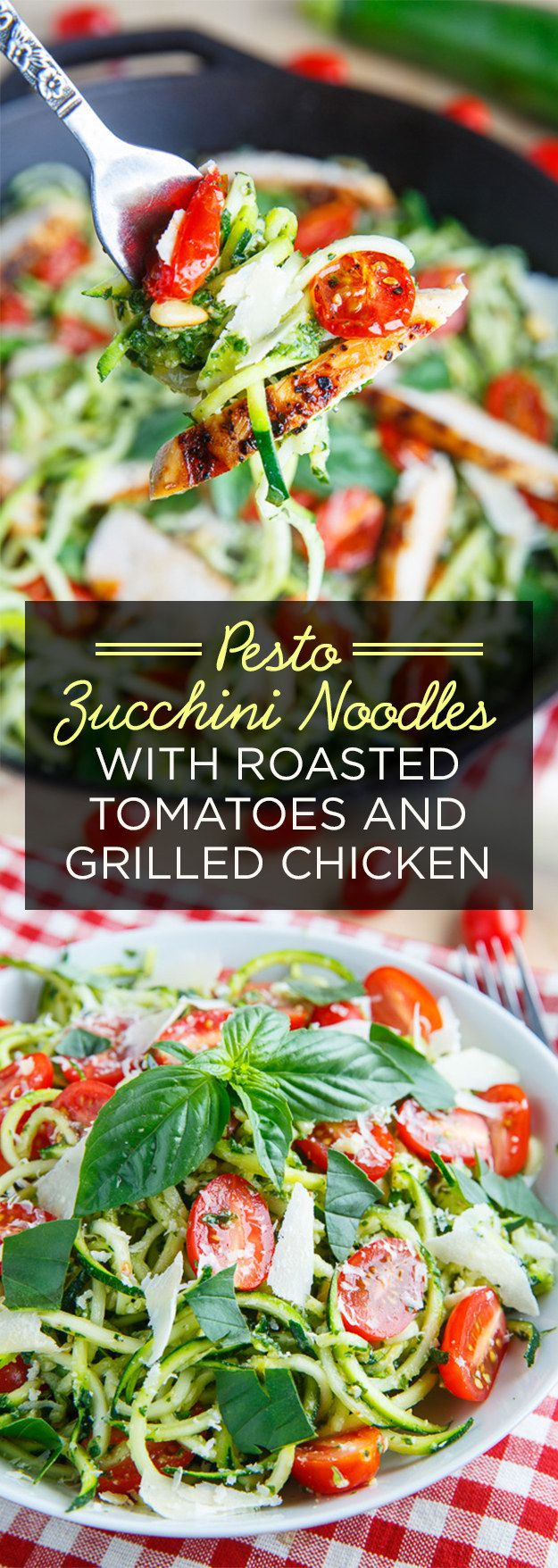 Pesto Zucchini Noodles with Roasted Tomatoes and Grilled Chicken | 7 Delicious Dinners For Your Busy Week