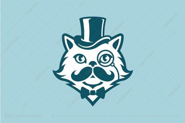 Gentleman Persian Cat With Moustache Logo Persian Cat Cat Logo