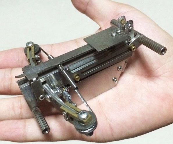 Perfect your ranged warfare skills during your downtime with this micro BB crossbow. This tiny handmade weapon is fully functional and can easily shoot anything from bb's to small headless nails or even matches.