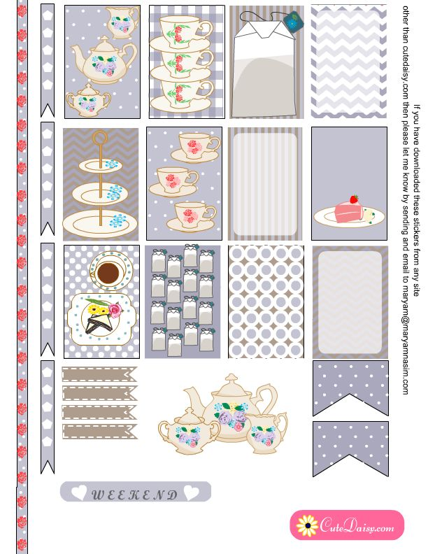 I have made English Tea themed Stickers for Happy Planner and ECLP {Free…