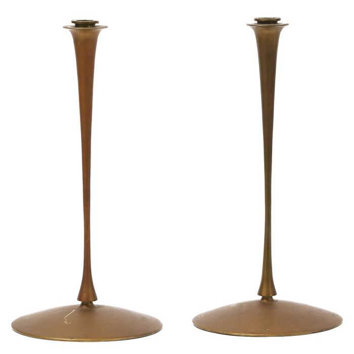 Jessie Preston Pair Of Bronze Candlesticks Anderson Factory Mark 14 1 2 Quot X 7 1 2 Quot Bronze