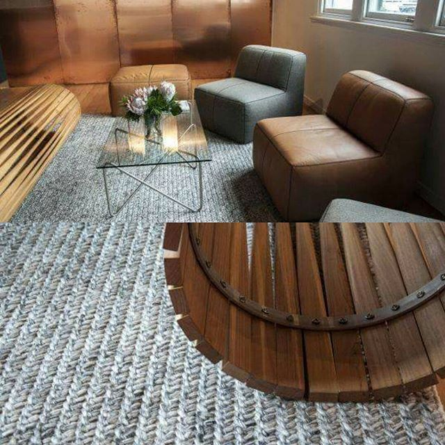 Lovely textured  Massachusetts woollen rug complimented by leather, wood and copper at #peddlethorp #rugs #rugdesign #architects #interiordesign