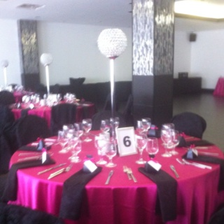 For This Quinceanera At Magnolia Event Boutique It Was Hot Pink Table Linens  With Black Napkins With Our Crystal Globes As Rentals With 3 Candles Au2026