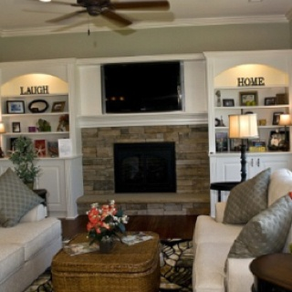 Love fireplace shelves
