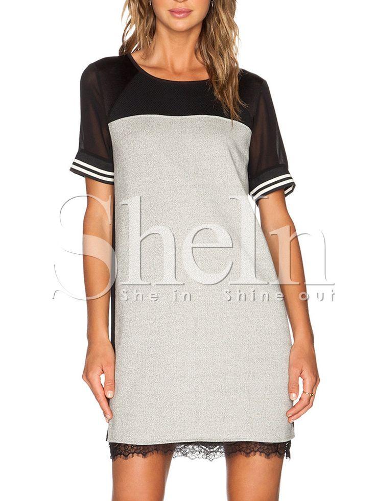Grey Short Sleeve Contrast Sheer Dress-SheIn