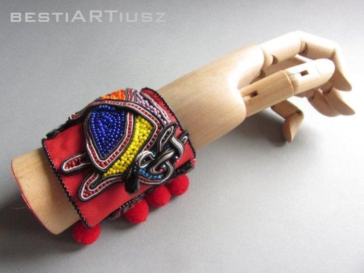 bestiARTiusz; El Toro; soutache; cuff bracelet; OOAK