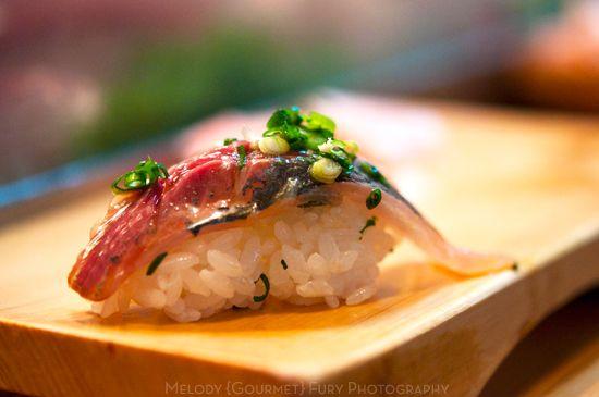 saba mackerel nigiri at Daiwa Sushi Restaurant at Tsukiji Market in Tokyo Japan by Melody Fury Photography. Food, Drink, Restaurant Photographer and Writer in Vancouver BC and Austin TX