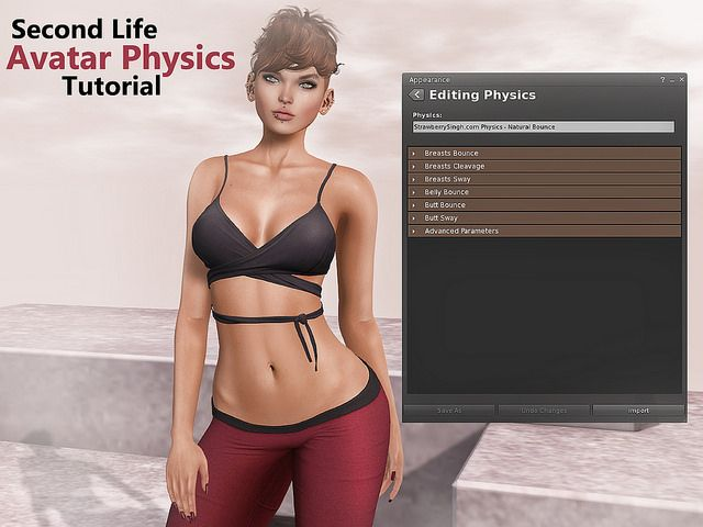 Second Life Avatar Physics Tutorial  http://strawberrysingh.com/2016/03/25/second-life-avatar-physics-tutorial/