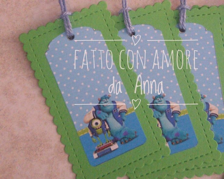 Monsters party favour tags