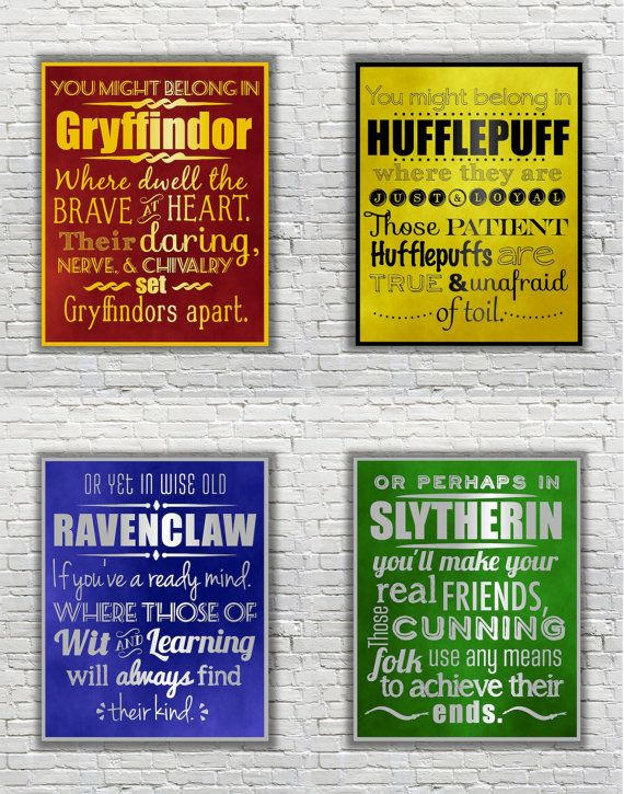 Harry Potter Typography Quote  The Four Hogwarts by FanFaires, $35.00