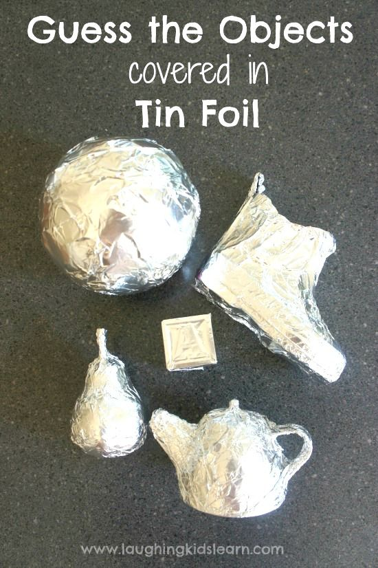 Simple activity where toddlers can guess the objects covered in tin foil. Testing their understanding of object permanence and known shapes.