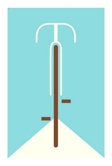 Bicycle (blue) part of Poster Cabaret's 2010 Bicycle print set hand made 2 color screen print measures 12 inches x 19 inches edition 100 artist: Eleanor Grosch