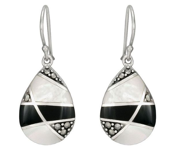 Bold contrast is the name of the game with these sterling silver earrings. QVC.com