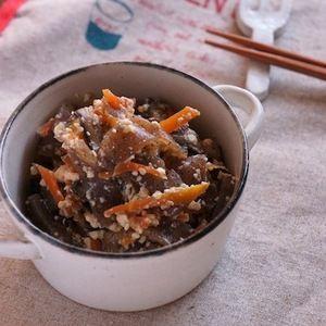 こんにゃく、干し椎茸、豆腐ととってもヘルシーなメニューです!