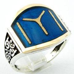 Mavi Mineli Kayı Boyu IYI 925 Ayar Gümüş Erkek Yüzük