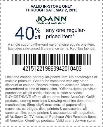 JoAnn Fabric - 40% Off 1 Regular Priced Item In Store