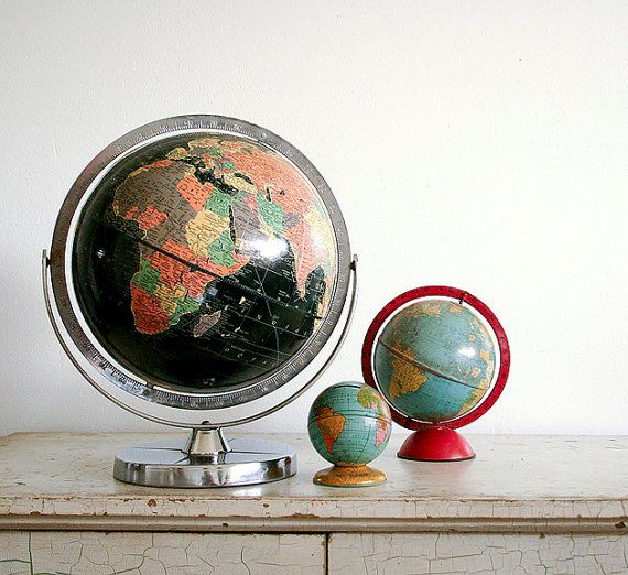 my vintage globe collection can finally come out of storage!!