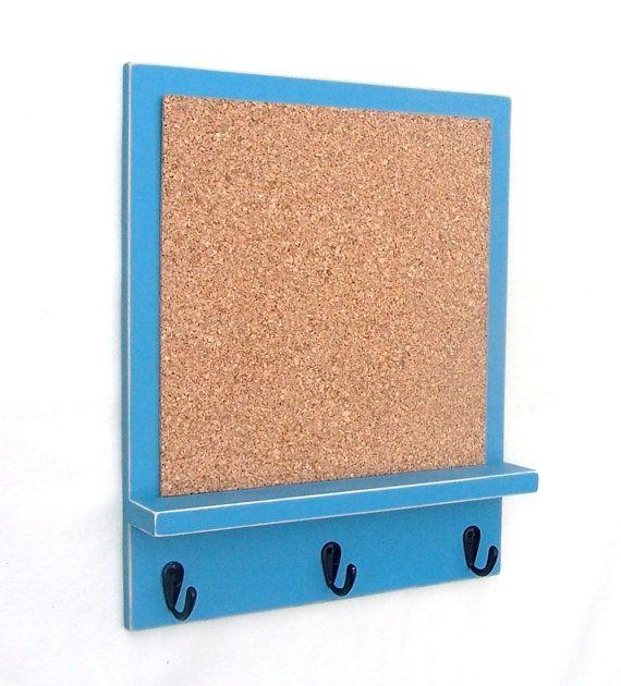 Cork Board Bulletin Board Key Hooks Key Holder by LegacyStudio, $24.95