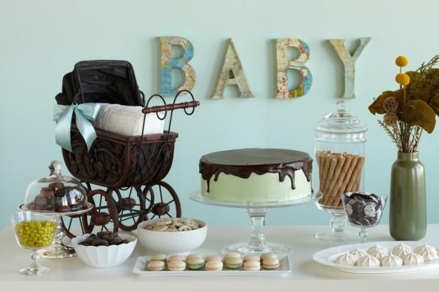 Welcome to the world baby shower sweets table map for Welcome home baby shower decorations
