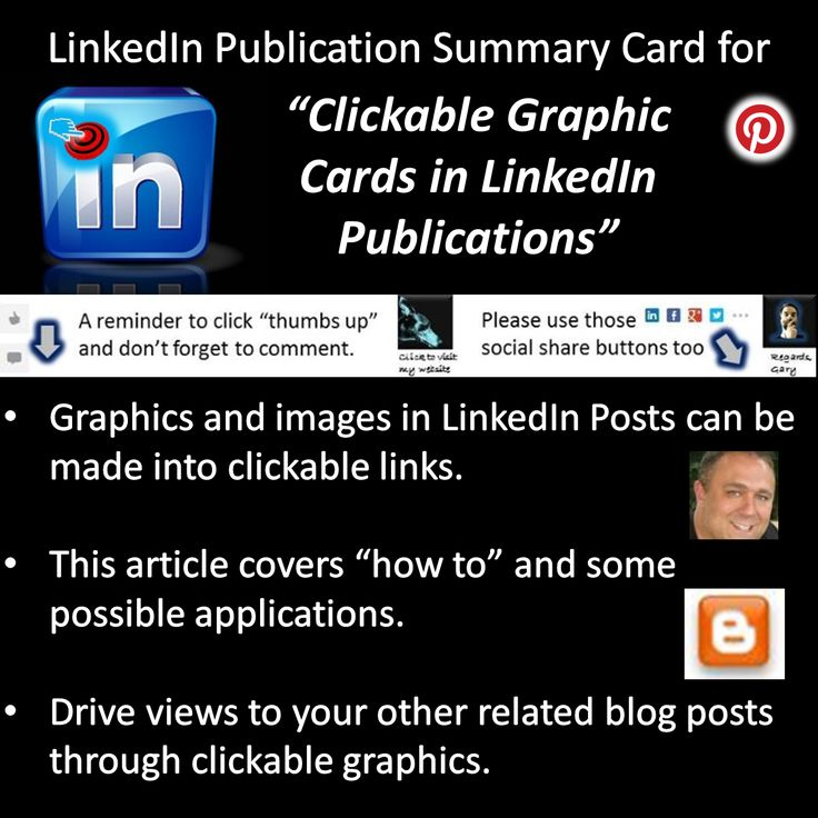 Clickable Graphic Cards in LinkedIn Publications. | Gary Sharpe | Published on LinkedIn