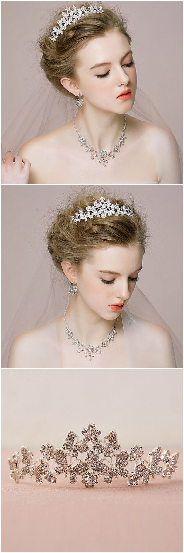 Wedding Accessory-Butterfly Inspired Rhinestone Wedding Tiaras @elegantwinvites