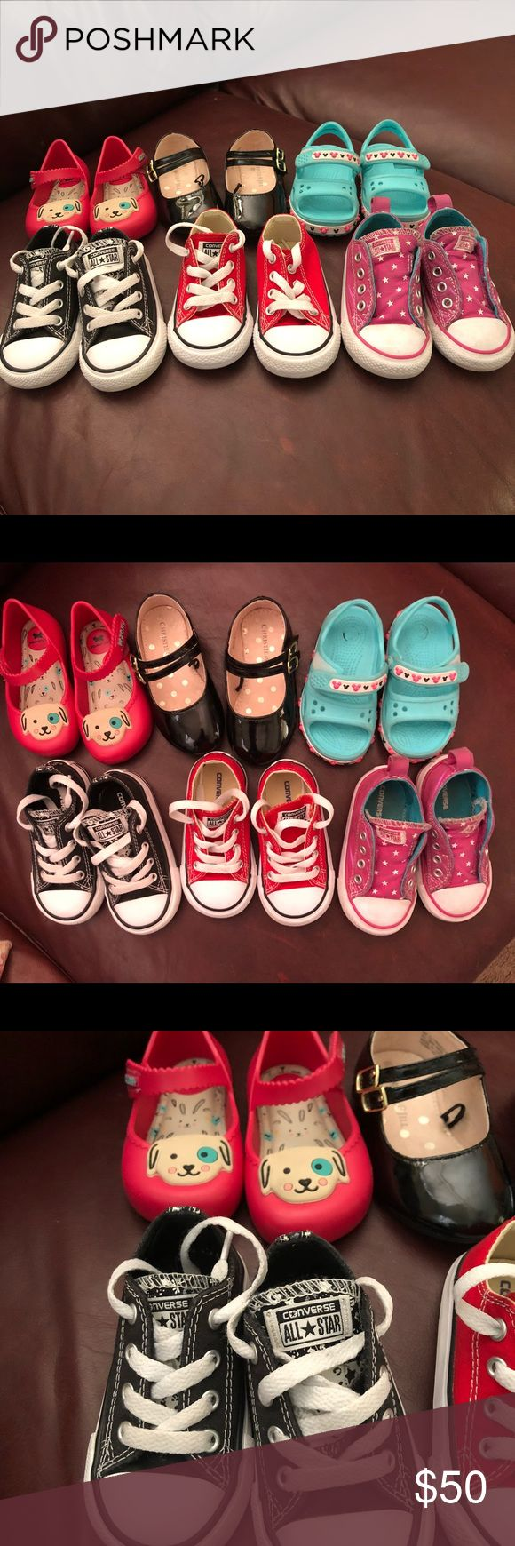 Toddler Girl shoe bundle Converse size 5 Crocs size 5 Black dress shoe size 6 Zaxy say 7, fits more like 5  All in excellent condition Converse Shoes Sneakers