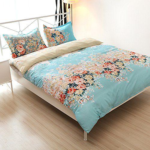 Cotton Blend Well Designed Floral Pattern Printed Duvet Cover Sets, Full Queen Size >>> Visit the image link more details.