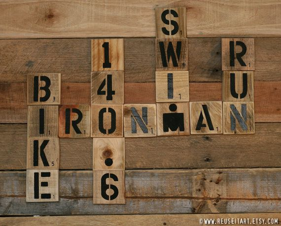 Print or Canvas: Full 140.6 & Half 70.3 Ironman Pallet Art Word Collage Scrabble Wall Decor Choose Lustre Print or Gallery Wrapped Canvas