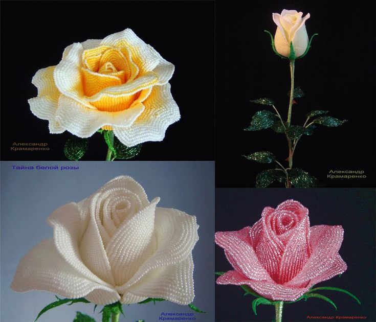 Beautiful French Beaded Roses by Alexander Kramarenko! French Beaded Flower Patterns by Dalene Kelly are also available at Sova-Enterprises.com and Bead-Patterns.com Many FREE Bead Patterns and Tutorials available!