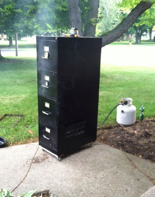 Who knew the same file cabinets that hold some of the most important information could also be used to make your next meal. If you want to build a smoker or barbecue then consider making one from a file cabinet. It takes only a few hours, minimum tools, it works great and it the whole thing can easily cost $20 - $40...if you don't have to buy the tools or if you have a little creativity.Here is a list of what you will need to build a file cabinet smoker/barbecue:A four drawer vertical file…