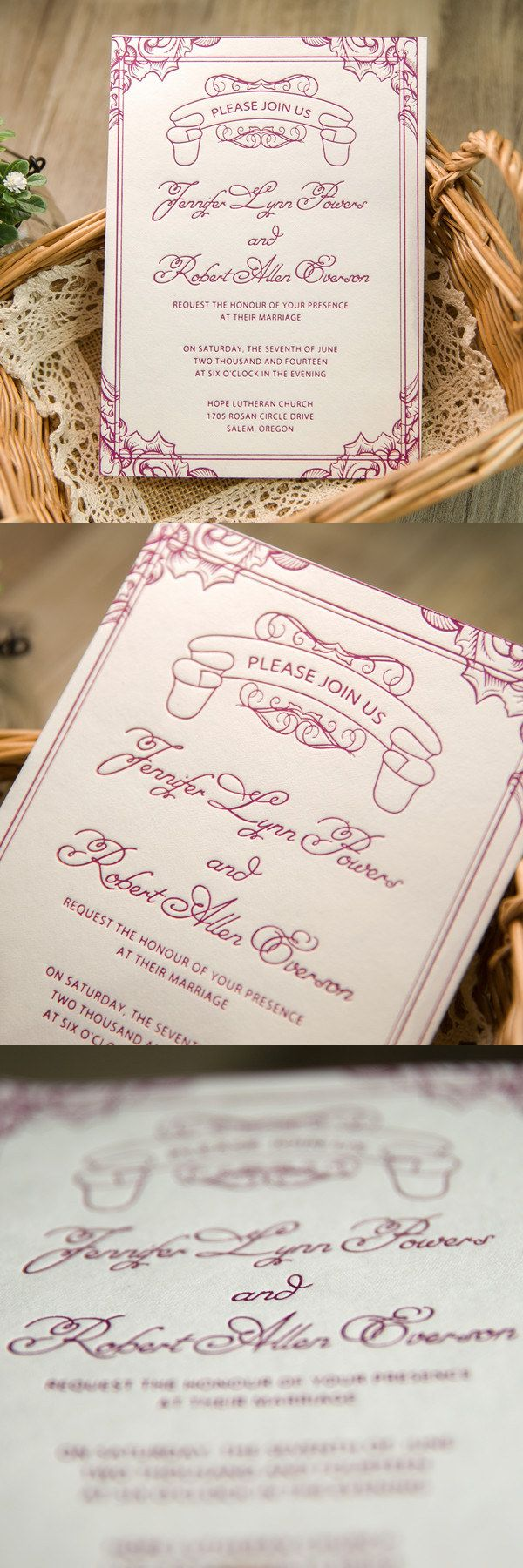 classic purple letterpress wedding invitations 172 best