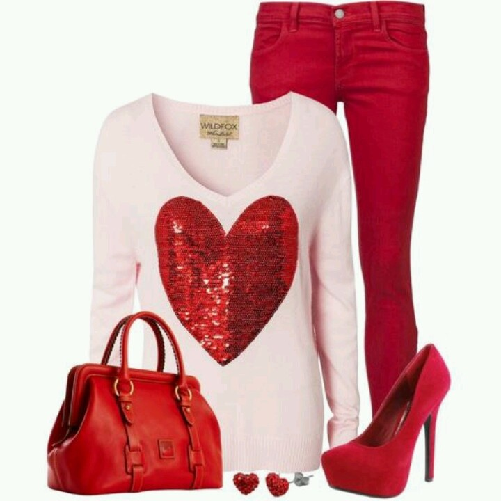 Valentines Day outfit. Tone it down with nude or white pumps and a black bag.