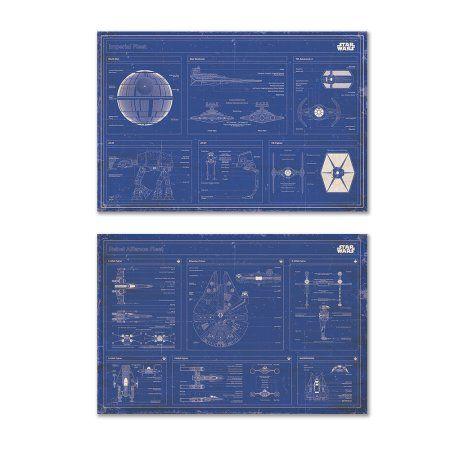 "Free Shipping. Buy Star Wars - 2 Piece Movie Poster Set (Imperial Fleet & Rebel Alliance Fleet Blueprints / Schematics - Horizontal) (Size: 36"" x 24"") at Walmart.com"